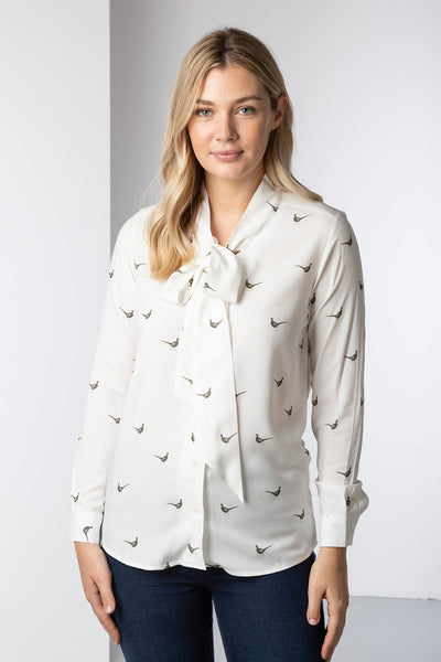 Pheasants - Ladies Tie Neck Blouse