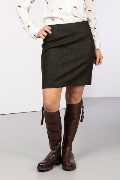 Green Herringbone - Ladies Limited Edition Tweed Skirt - Kate