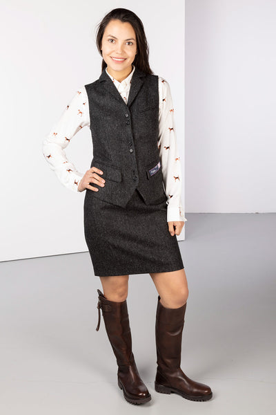 Charcoal Delight - Ladies Limited Edition Tweed Waistcoat - Helen