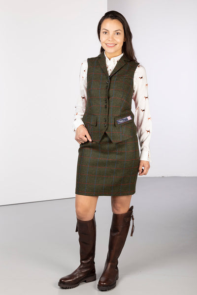 Green Herringbone Check - Ladies Limited Edition Tweed Waistcoat - Helen