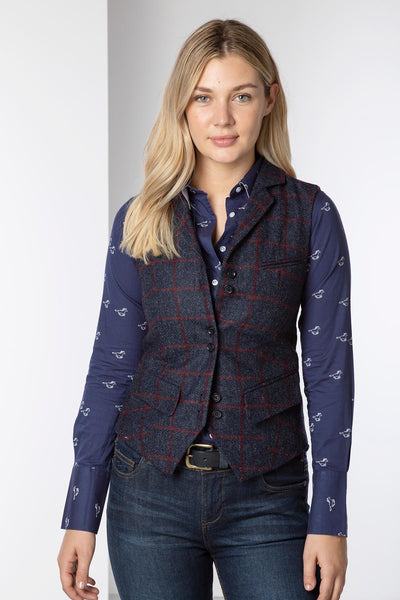 Navy Herringbone Check -  Ladies Limited Edition Tweed Waistcoat - Helen