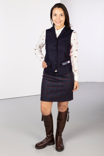 Navy - Ladies Limited Edition Tweed Waistcoat - Helen