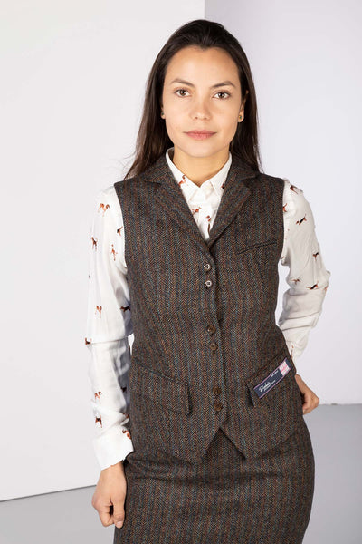 Outdoor Teal Bone - Ladies Limited Edition Tweed Waistcoat - Helen