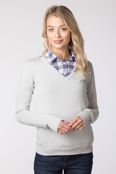 Silver - Ladies V Neck Fine Knit Sweater