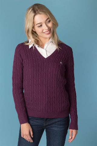 Ladies V Neck Cable Knit Sweater
