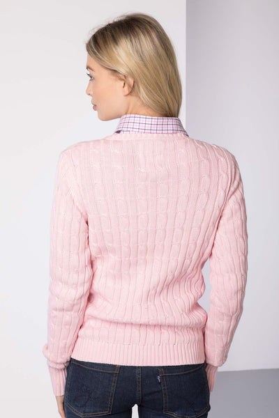 Sorbet - Ladies V Neck Cable Knit Sweater