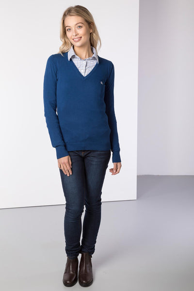 Dark Denim - Ladies V Neck Fine Knit Sweater
