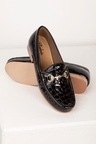 Black - Ladies Wrelton Snaffle Patent Loafers