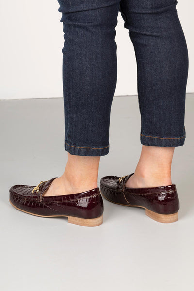 Burgundy - Ladies Wrelton Snaffle Patent Loafers