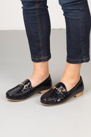 Navy - Ladies Wrelton Snaffle Patent Loafers