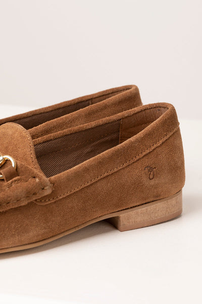 Tan - Ladies Wrelton Snaffle Suede Loafer Shoes