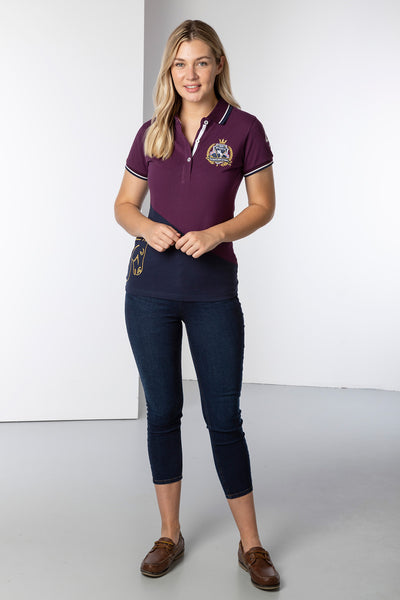 Berry/Navy - Ladies Diagonal Polo Shirt - Lily
