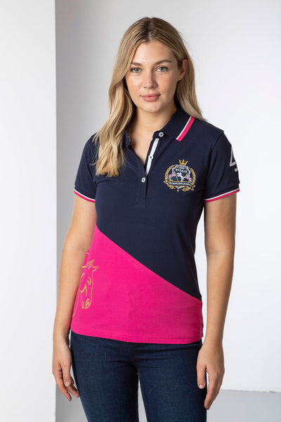 Navy/Bonbon - Ladies Diagonal Polo Shirt - Lily