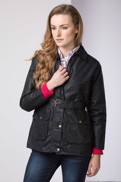 Navy - Mid Length Belted Wax Jacket