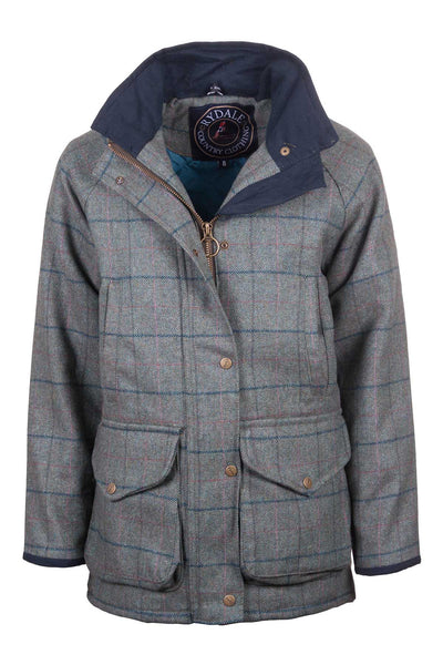 Blue Check - ladies waterproof long tweed jacket