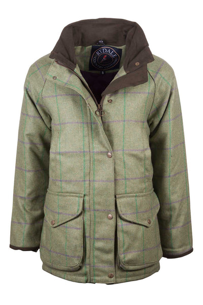 Purple/Green - ladies waterproof long tweed jacket
