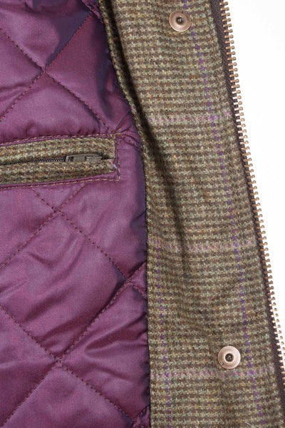 Small Check - ladies waterproof long tweed jacket