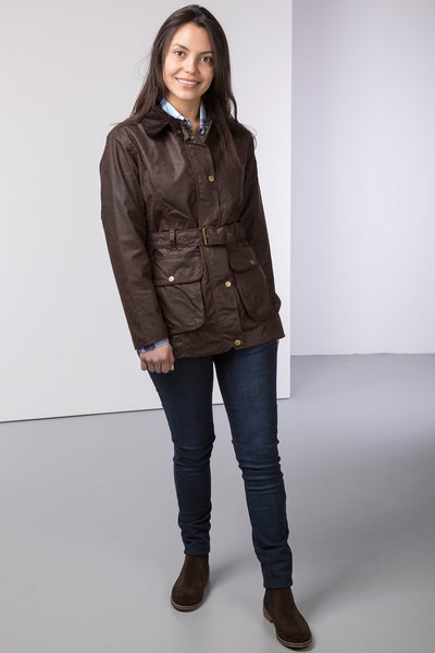 Brown - Mid Length Belted Wax Jacket