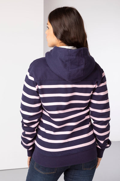 Navy/Sorbet - Ladies Lucy Striped Full Zip Hoody