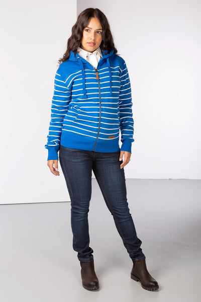 Pacific/Vanilla - Ladies Lucy Striped Full Zip Hoody