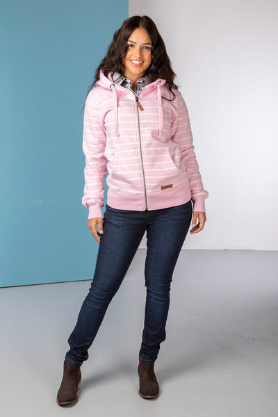 Sorbet/Vanilla - Ladies Lucy Striped Full Zip Hoody