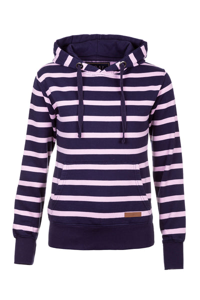 Navy/Sorbet - Lucy Striped Overhead Hoody