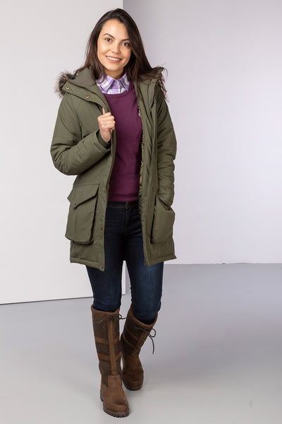Khaki - Malham Long Winter Coat