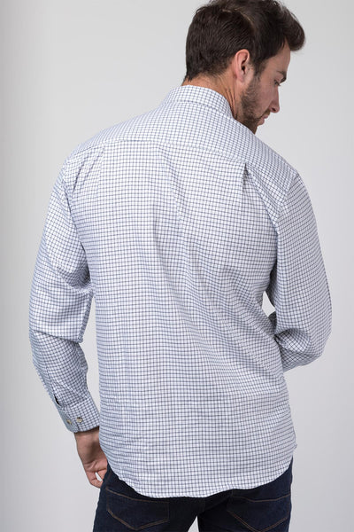 Market Dark Navy - Mens 100% Cotton Check Shirt