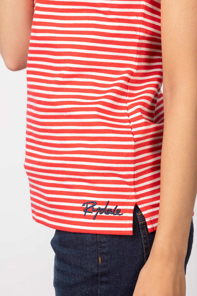 Cherry/White - Matilda Stripe Polo Shirt