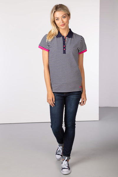 Navy/White - Matilda Stripe Polo Shirt