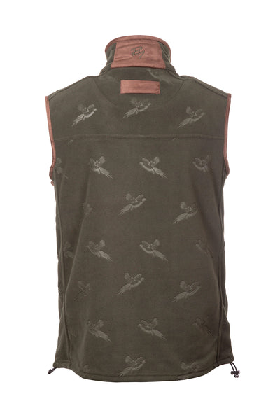 Khaki - Men's Pheasant Fleece Gilet - Haxby
