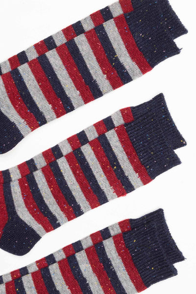 Navy - Mens 3 Pack Striped Boot Socks