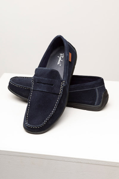 Navy - Men's Sandsend Suede Driving Loafers.
