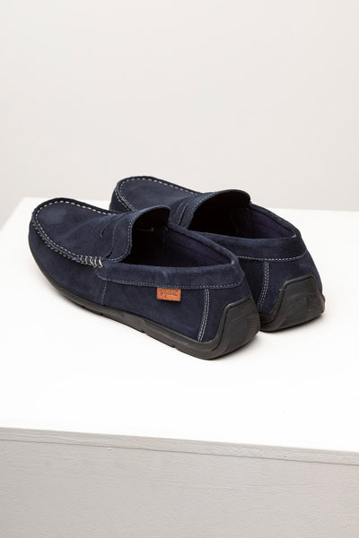 Navy - Men's Sandsend Suede Driving Loafers