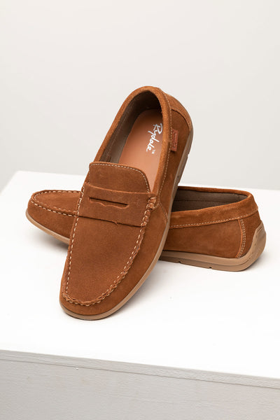 Tan - Men's Sandsend Suede Driving Loafers