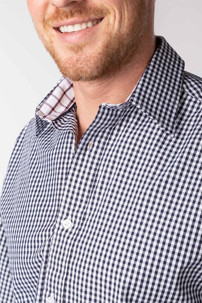 Navy - Men's Navy Gingham Shirt - Daniel II