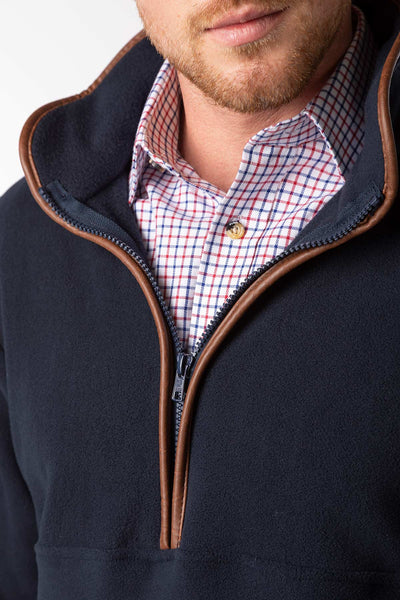 Navy - Mens Harpham Overhead Fleece