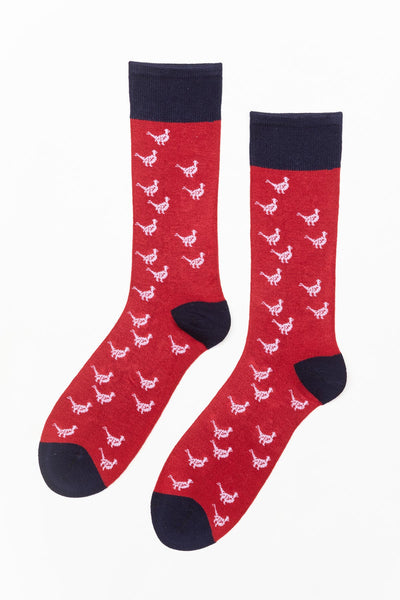 Red - Men's Pheasant Pattern Socks