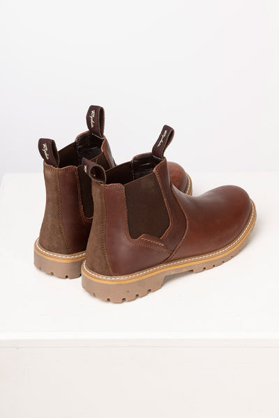 Brown - Men's Pull On Work Boots - Crayke