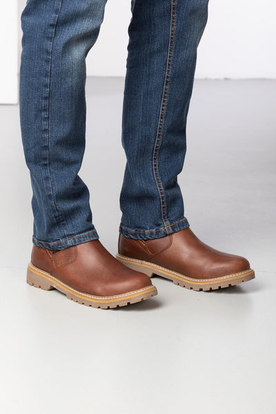 Tan - Men's Pull On Work Boots - Crayke