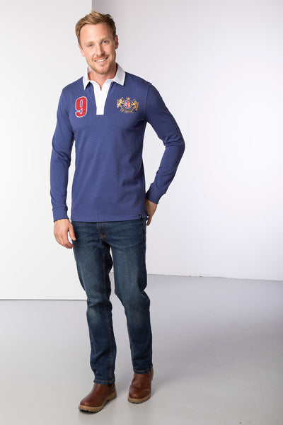 Dark Denim - Men's Rugby Shirt - Otley Plain