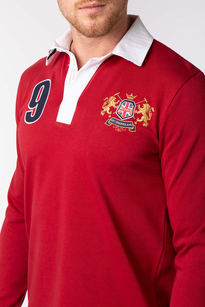 Dark Red - Men's Rugby Shirt - Otley Plain