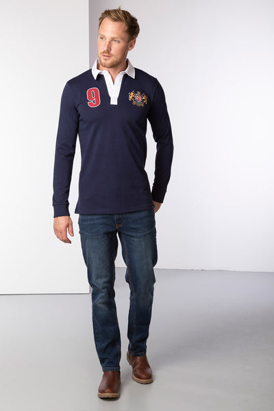 Navy - Men's Rugby Shirt - Otley Plain