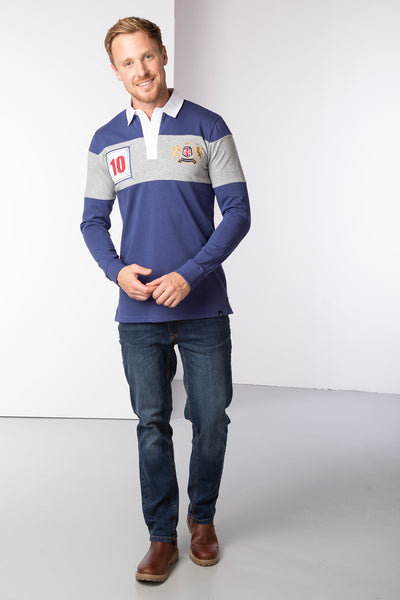 Dark Denim/Grey - Men's Rugby Shirt - Otley Stripe