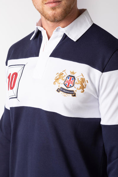 Navy/White - Men's Rugby Shirt - Otley Stripe