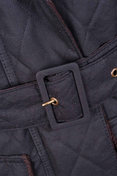 Black - Mid Length Belted Diamond Quilt Wax Jacket