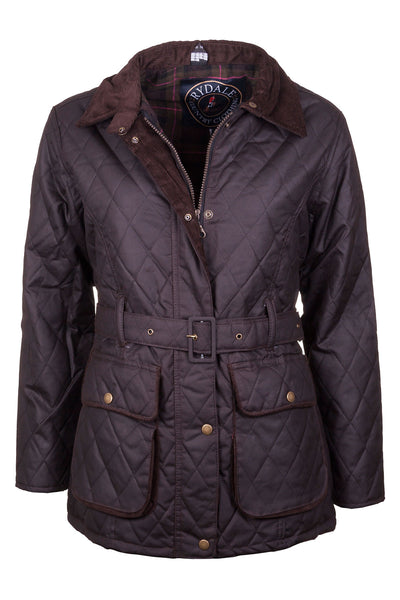 Brown - Mid Length Belted Diamond Quilt Wax Jacket