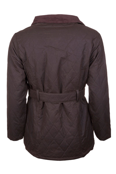 Olive - Mid Length Belted Diamond Quilt Wax Jacket