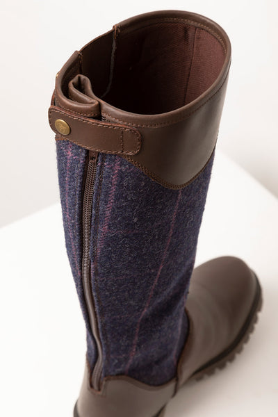 Navy - Middleham Long Tweed Boots