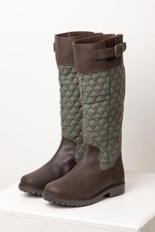 Blue - Middleham Quilted Tweed Boots